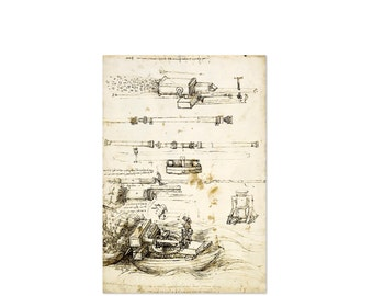 Antique Style Wall Hanging, Leonardo da Vinci Sketch with Studies of guns and mortars - codex, Wall Decor Poster