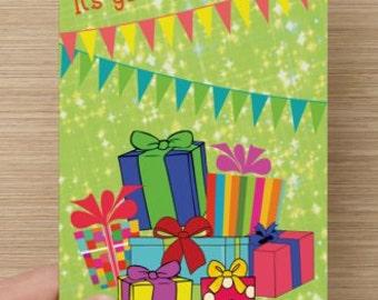 Birthday card, It's Your Birthday, and I'm celebrating the gift of YOU! birthday for anyone, men, women, girl, boy, children birthday