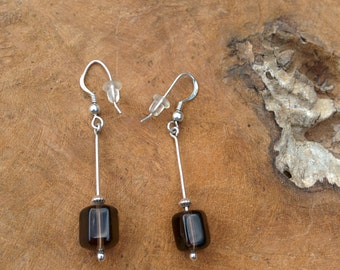 Smoky Quartz Earrings - Brown - Black - Silver Earrings - Quartz Jewelry - Dangle Earrings