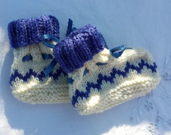 Baby booties, handknit pure wool, medium blue and white