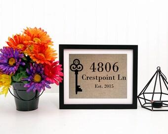 Burlap Print, Personalized Housewarming Gift, Home Address Sign, Monogram Key, Burlap Print