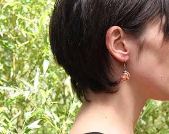 Earrings with rose petals