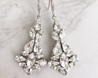 Bridal jewelry - crystal wedding earrings - statement bridal earrings - wedding earrings - Swarovski crystal - chandeliers - Stella earrings