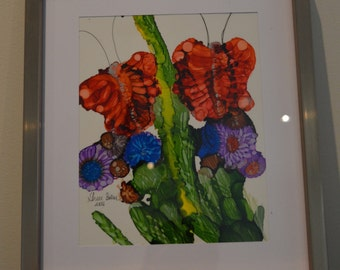 Butterfly On A Grapevine: Original Alcohol Ink Painting On Yupo Paper