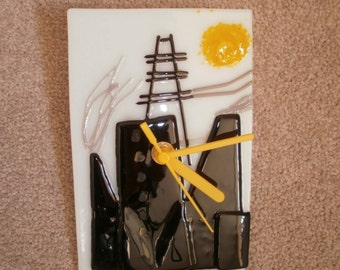 Handmade glass fused wall clock with industrial theme and yellow plastic clock hands