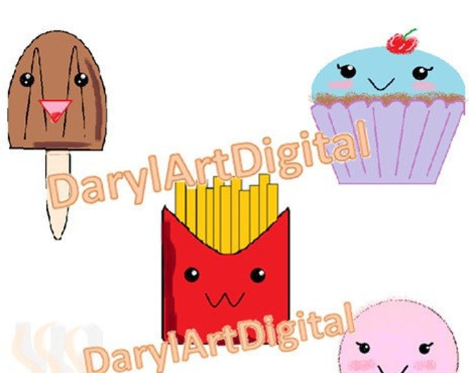 Kawaii food clipart, instant download printable clip art, commercial use