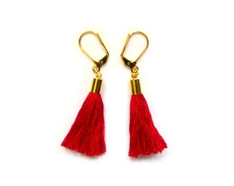 Tassel Earrings , Boho Chic Earrings , Dangle Drop Earrings , Colorful Earrings , Red Earrings , Red Tassel Earrings