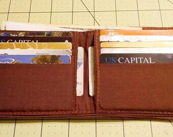 Men's Fabric Vegan Bifold Fabric Wallet Black/Brown Handmade Durable