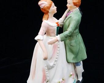 Vintage Music Box Japan Waltz, Porcelain Figurine Music Box, Wind Up , Gift to Her, Engagement Music Box, Wedding Music Box