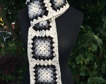 Crochet Granny Square Scarf Long Handmade Acrylic and Wool Yarn with Pom Pom