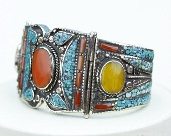 Get your Groove On! Yellow Onyx Tibetan Turquoise Coral Native Tribal Ethnic Jewellery Tibet Tibetan Nepal OXIDIZED Silver Bangle B2276