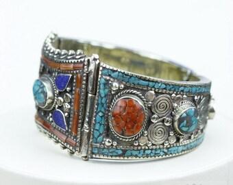 Expert Craftsmanship! Inaly GENUINE Coral Turquoise Lapis Native Tribal Ethnic Jewellery Tibet Tibetan Nepal OXIDIZED Silver Bangle B2278