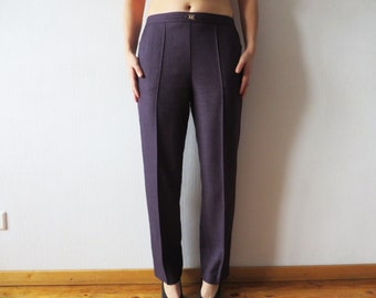 Purple Womens Pants High Waist Slacks Fishbone Print Slacks Tapered Womens Trousers Medium Size Trousers Purple Dress Up Pants Waist 30