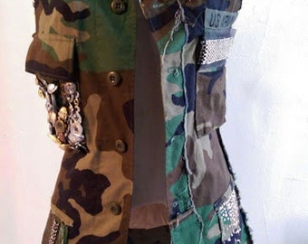 Handmade Embellished Camouflage Army Vest