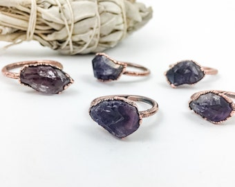 Raw Amethyst Ring   February Birthstone    Electroformed Jewelry   Amethyst and Aged Copper   Crystal Healing   Made to Order  