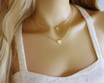 Triangle Necklace, Triangle Layered Necklace, Triangle Layer Necklace, Triangle Layering Necklace, Gold Triangle Necklace, Double Triangle
