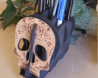 Sugar skull pen holder, Desk organizer, etched, laser cut, wood sugar skull,Pen Holder