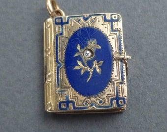 14K Gold Book locket blue enamel with diamond c 1850