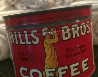 Vintage Hills Bros Coffee Tin Can Red Can Brand One Pound / Key Wind Copyright 1939 - Nice Graphics
