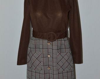 Vintage 60's Brown Dress w/ Plaid Skirt Long Sleeve Dress Size 10