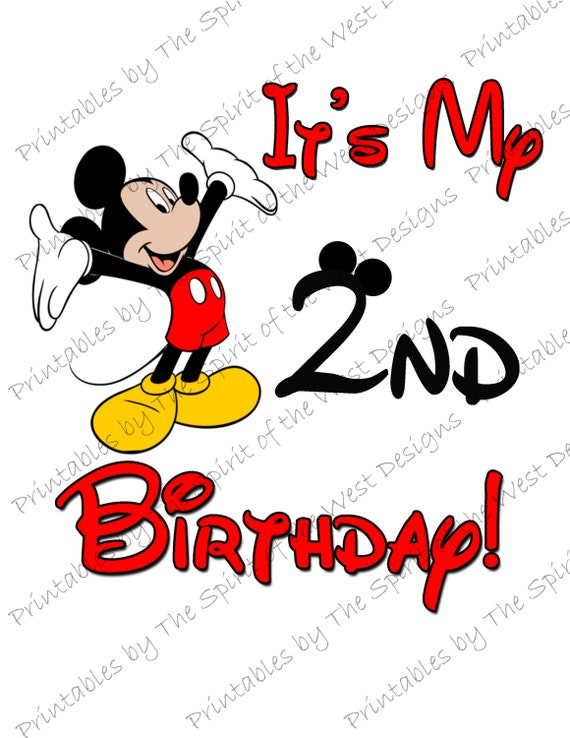 Items similar to It's My Second Birthday Mickey Mouse ...