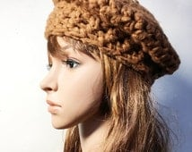 Ocher LEA Crocheted Beret - Hand Made Crocheted Beret -  Ocher Beret - Woman Hat - Ready To Ship