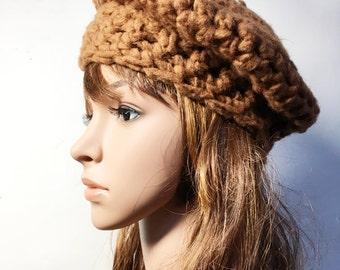 Ocher LEA Crocheted Beret - Hand Made Crocheted Beret -  Ocher Beret - Woman Hat - Ready To Ship