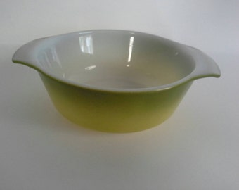 Anchor Hocking Fire King 12oz Avocado Green Mini Casserole Dish With Tabbed Handles #472
