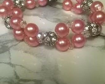 Pink Pearl and Swarovski Crystal Stretch Bracelet