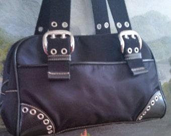 Black purse,Sarta purse, black handbag, black purse with silver hardware, fabric purse leather-like trim, ladies handbag,medium size handbag