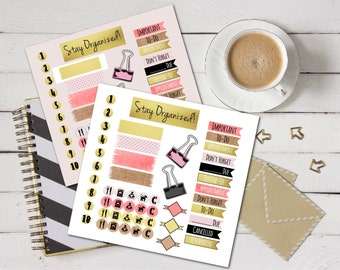 Gold and Pink Planner Stickers - Glitter Gold Planner Stickers, Pink and Burlap Planner Stickers, Printable Planner Stickers, Chic Reminders