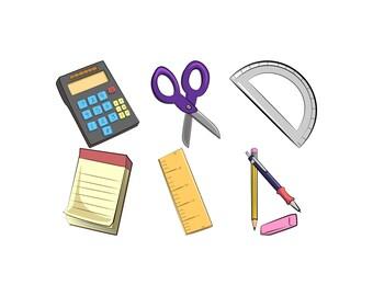 School Supply Clip Art - School Supply Clipart, Clip Art School Supplies, Office Clip Art, Pencil Clipart, Ruler Clip Art, Calculator Clips