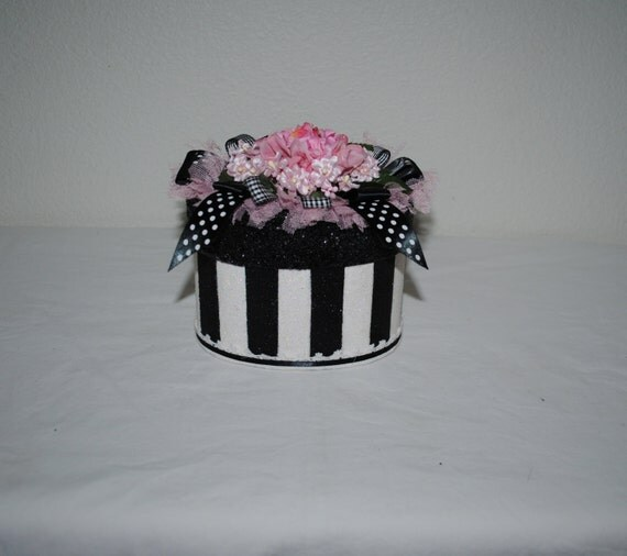 Victorian Gift Box, Floral Keepsake Box, Tall Decorated Box, Black and White Glittered Stripes, Pink Roses and Flowers, Ribbons