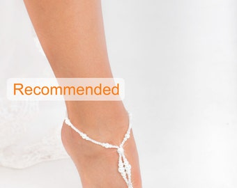 Beaded barefoot sandals, Bridal foot jewelry, Pearl and Rhinestone Beach wedding Barefoot Sandals, Barefoot sandles, Wedding Shoes, Sandal
