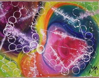 """Colorful acrylic painting,abstract""""punto de encuentro""""."""