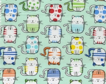 Timeless Treasures - Cattitude- Mint Multi Cats - Fabric by the Yard