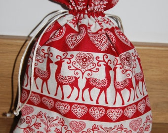 Christmas Gift Bag Christmas Sack Christmas by TheQuiltersQuarters