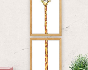 Nursery wall art, giraffe print, minimalist wall art, cute wall decor, animal print, nursery decor, baby shower, kids room decor