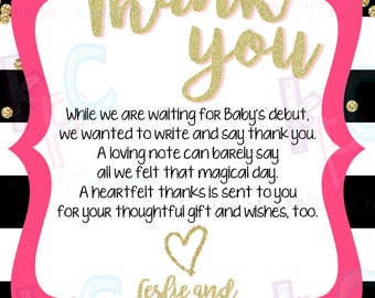 """Gold Confetti 4""""x6"""" Printable Baby Shower Thank You Card Black White Gold Glitter Pink Stripes {Digital File Only}"""