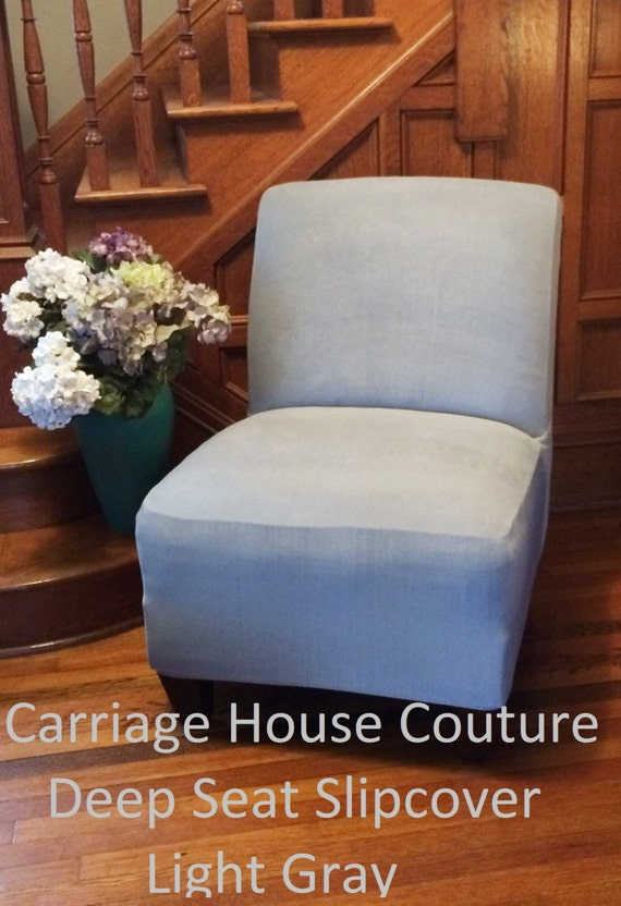 Genial Slipcover Light Gray Suede Chair Cover For Armless Chair