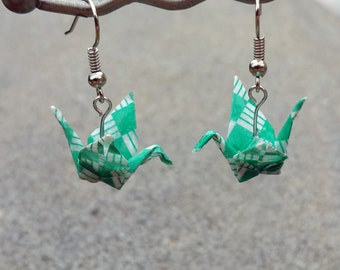 Origami Earrings - Green