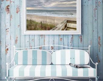 Sand Dune Photo – Blueish Gray – Beach Landscape Photo – Stormy Photo