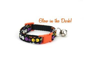 Halloween Cat Collar with Bell Breakaway Safety Black Orange Eyes Glow in the Dark Eyeball Cat Collar
