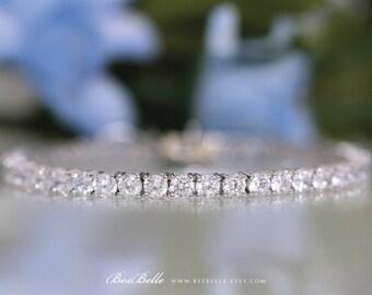 9.89 ct.tw Tennis Bracelet-Brilliant Cut (4.0mm) Diamond Simulants-Bridal Bracelet-Anniversary Bracelet-Sterling Silver [1500]