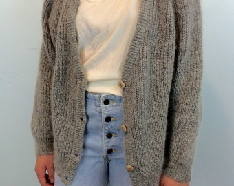 Vintage Angora Blend Cardigan by Duo RR Maglierie of Italy, Heather Gray, Size L