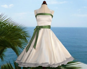 Wedding dress with green sateen tapes