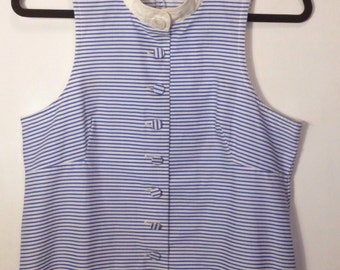 Vintage 1960s Biba blouse 60s sleeveless shirt top blue white striped button front casual day Twiggy Carnaby mod M