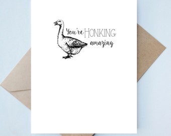 Handmade Love Card  // Valentine's Day - Punny Card - Friend Valentine - Goose Card - Animal Valentine Card - Unique Card - Funny Valentine