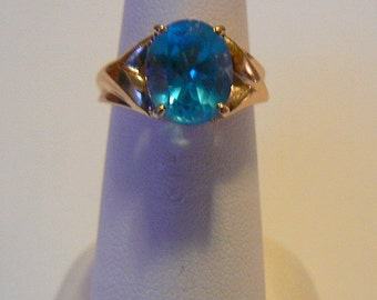Swiss Blue Topaz & 14K Plumb Gold Ring