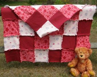Pink Love Twin Rag Blanket/Fleece Throw Blanket